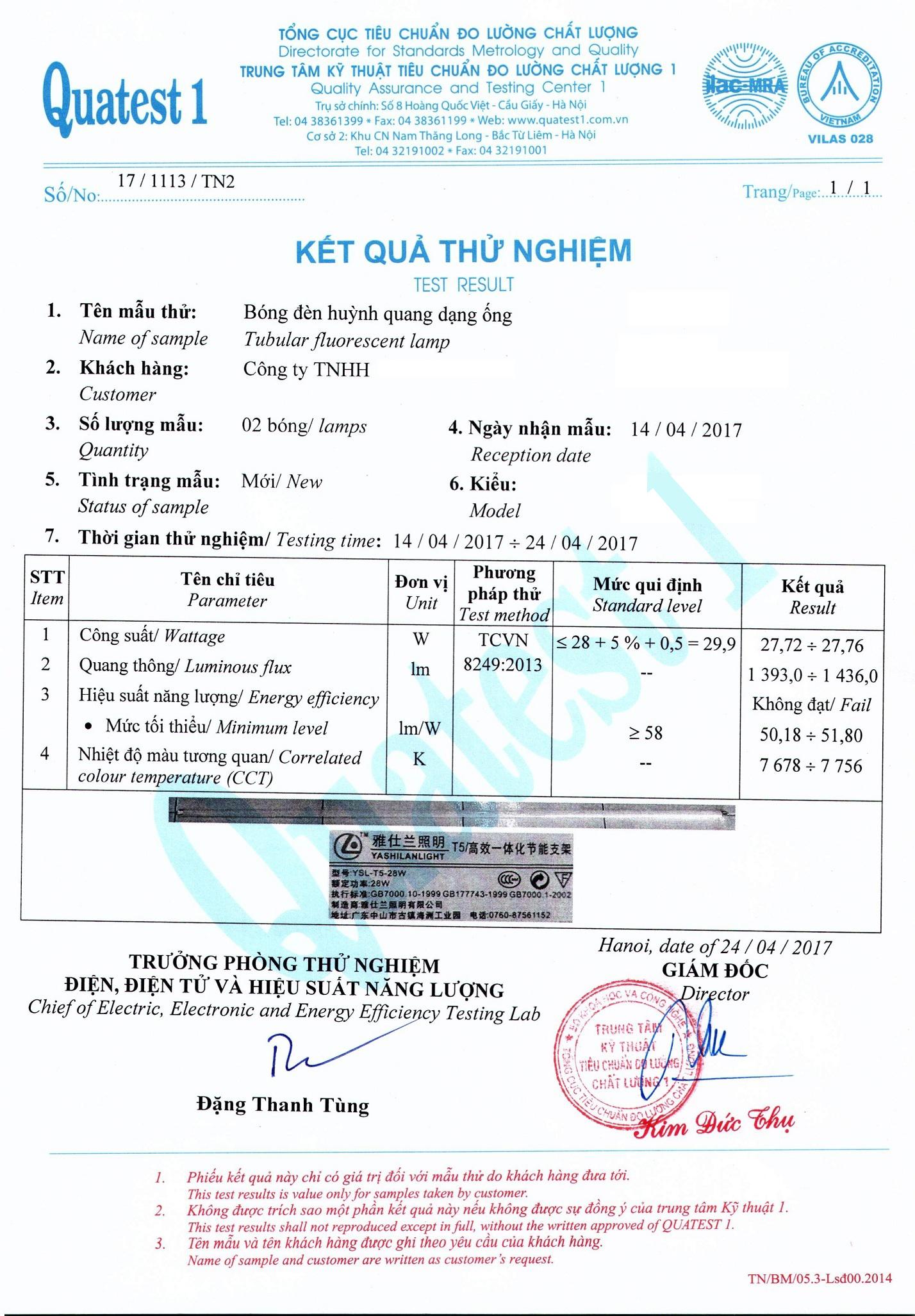 Mẫu Kết Quả Thử Nghiệm Bóng Đèn Huỳnh Quang Dạng Ống