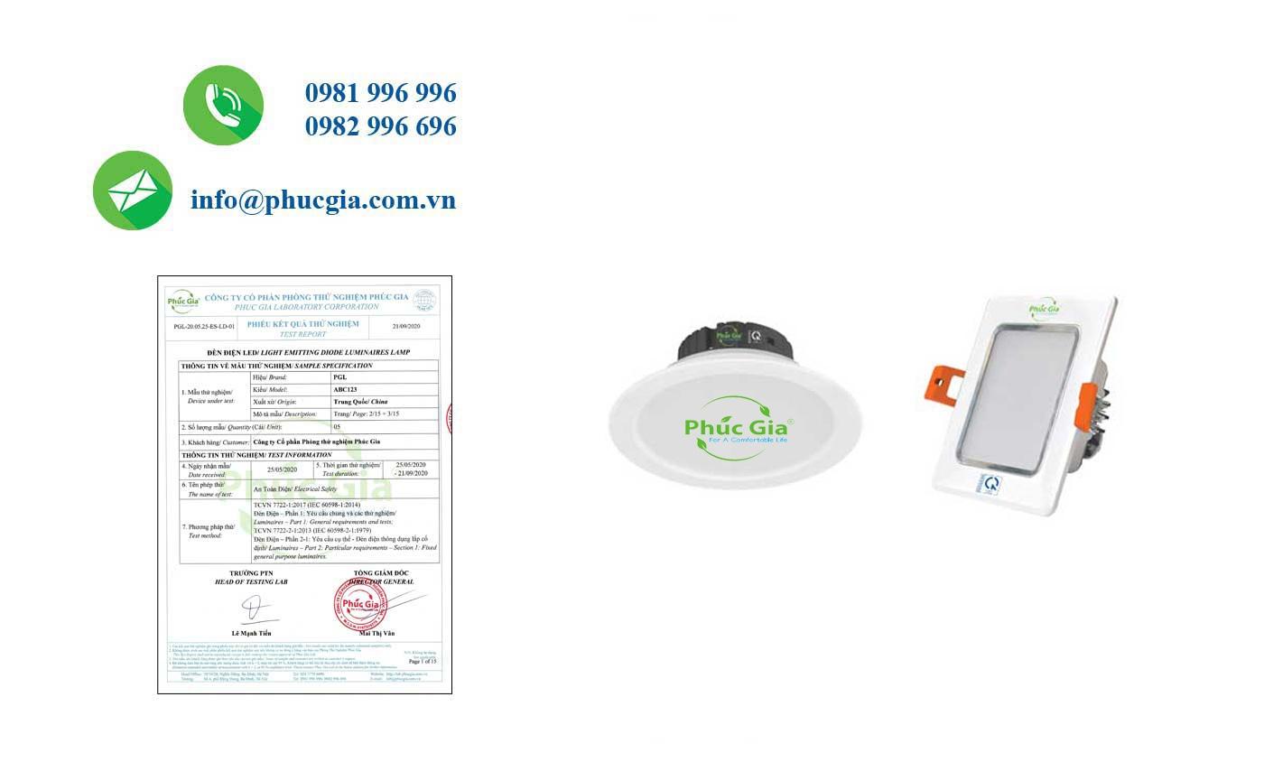 Kết quả test ES đèn LED lắp chìm