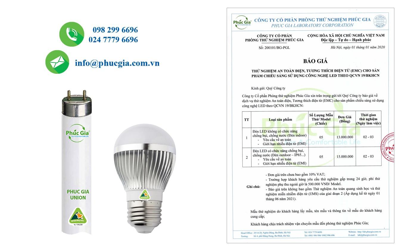 báo giá thử nghiệm an toàn điện và emc cho đèn LED