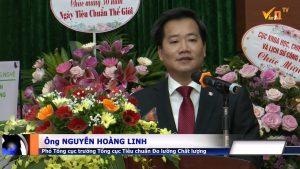 Ông Nguyễn Hoàng Linh - Phó Tổng cục trưởng Tổng cục Tiêu chuẩn Đo lường Chất lượng lên phát biểu trong lễ kỷ niệm 50 năm ngày Tiêu chuẩn Thế giới